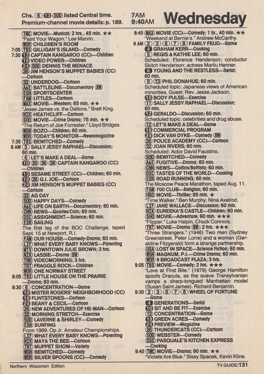 Vintage channel guide from martime edition of tv guide march 21 1987.