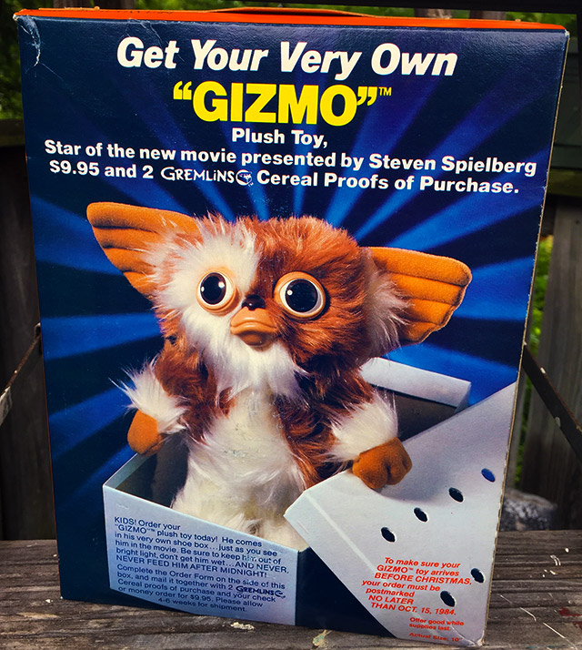 opening a box of gremlins cereal from 1984